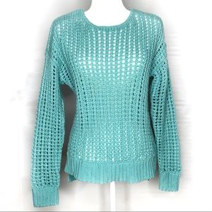 NWT Piperlime Open Knit Pullover Sweater Aqua Med